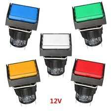 LED Light Push Button Switch Rectangular DC 12V Momentary 24mm x 19mm
