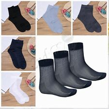 3 Pairs Summer Mens Short Socks Stockings Sheer Silk Socks Crew Business Sock