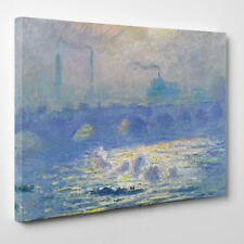 Claude Monet Waterloo Ponte Con cornice Tela Stampa D'arte pittura blu london