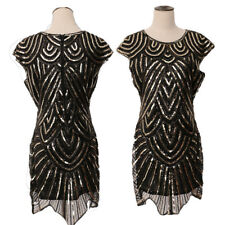 Vintage 1920s Gastby Sequins Black Flapper Dress Club Party Cocktail Prom Dress