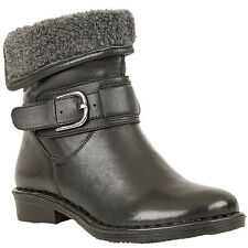 LADIES LOTUS MATTERHORN BLACK LEATHER WARM LINED ANKLE BOOTS