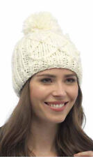 Ladies Chunky Cable Knitted Beanie Hat With Pom-Pom-Winter Thermal Hat GL490