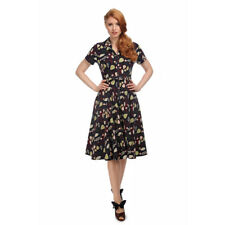 Collectif Vintage Navy Caterina Woodland Leaves Swing Dress Sz 8-22 1950s