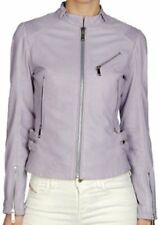 Diesel Womens Leather Jacket Biker Style Astrid Jacket Lilac  new with tags