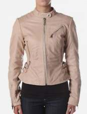 Diesel Womens Leather Jacket Biker Astrid Nude  new with tags