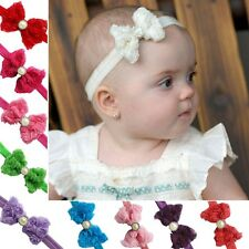 Newborn Headband Flower Pearl Elastic Baby Headdress Kid Hair Band Girl Bow Knot