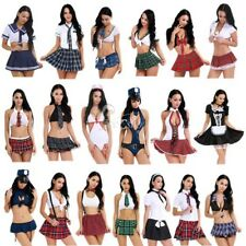 Women's Lingerie Schoolgirl Costume Halloween Uniform Cosplay Sissy Dress Outfit