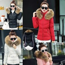 Winter Women's Down Cotton Parka Short Fur Collar Hooded Coat Quilted Jacket JJ