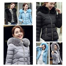 Winter Women Thick Cotton Padded Puffer Bubble Fur Collar Hooded Coat Jacket JJ