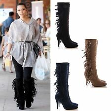 Ladies Boots Tall Fringe Tassel Faux Suede High Heel Boots Size 3 4 5 6 7 8