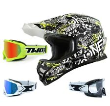 Oneal 3series CASCO Attack Negro NEON CON two-x Carrera Gafas CROSS MOTOCROSS