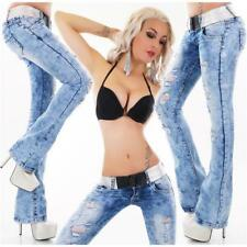 SEXY DAMEN DESTROYED BOOTCUT JEANS ACID-WASH INKL. GÜRTEL BLAU #H1516