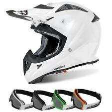 AIROH AVIATOR COLOR Motocross Kinder Helm 2018 - weiss gloss + MX-Bude MX-4 Kind
