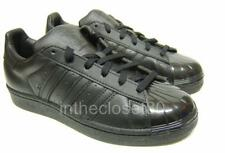Adidas Superstar Glossy Toe Triple Black Leather Womens Trainers BB0684