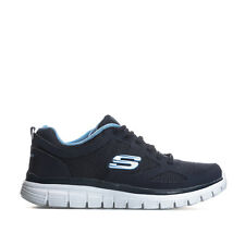 Mens Skechers Burns Agoura Trainers In Navy- Lace Fastening- Padded Collar And