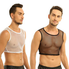 Men's Sleeveless See-through Tank Crop Top Shirt Mesh Muscle Fishnet Undershirt