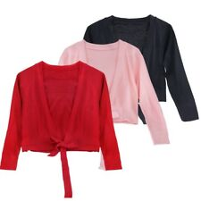 Girls Kids Ballet Cardigan Crossover Wrap Bolero Shrug Knitted Dance Sweaters