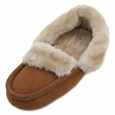 Cosies Ladies Faux Suede Fur Lined Moccasin Slippers