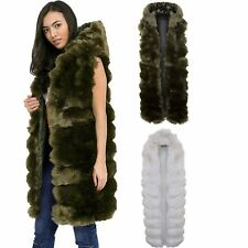 Ladies Sleeveless Faux Fur Lined Hooded Open Front Gilet Waistcoat Jacket Coat
