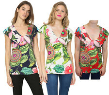 Desigual Tropical Floral Floaty Sleeve White Erasmo T-Shirt S-XXL UK10-18 RRP?54