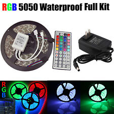 Impermeable Tira de luces LED 5m RGB 5050 300 SMD 44 Llave a distancia 12v Power