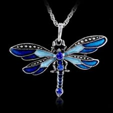 Vintage Silver Crystal Dragonfly Pendant Necklace Sweater Chain Charm Jewellery