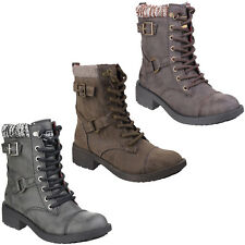 Rocket Dog Thunder Long Biker Lace Boots Heeled Womens Fashion Shoes Ladies