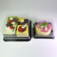 Clear Square Box Lid with Black Base Container For Mini Cakes/Desserts/Takeaway