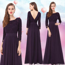 Ever Pretty Long Lace Formal Evening Gowns Purple Mother of Bride Dresses 08412