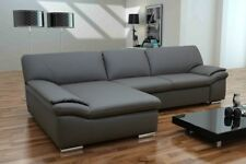 Ledercouch grau  Boxspring Sofa Luca Polsterecke Ecksofa Couch Rueckenfunktion ...