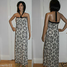 fe19a53ae6 NEW SEASON NEXT BLACK IVORY FLEUR PRINT HALTERNECK MAXI DRESS SUMMER BEACH