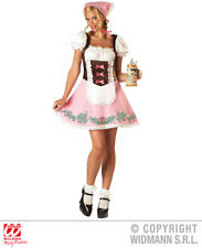 Womens Ladies Pink Bavarian Girl German Lady Oktoberfest Fancy Dress Costume