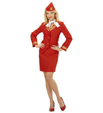 Womens Ladies Red Flight Attendant Air Stewardess Fancy Dress Costume Outfit