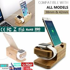 iPhone and Apple Watch dock Bamboo Wood Stand Charging Station Cradle Holder NEW