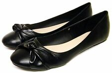 Womens Black Ballerina School Flat Slip On Work Shoes Dolly Ballet Pumps Sizes