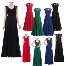 Lady Long Chiffon Lace Evening Formal Party Ball Gown Prom Bridesmaid Maxi Dress