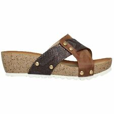 JLH928 Guava Cross Over Snake Print Comfortable Strap Mule Wedges Sandals