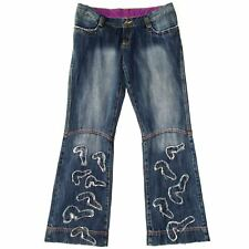 WOMEN'S EVISU CREWED UPJEANS EXLUCIVE LEG BLUE DENIM W32 33 34 35 36 RRP £128