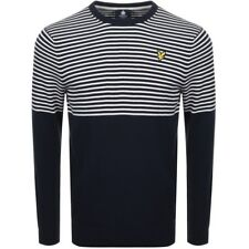 Lyle & Scott Men's Half Breton Stripe jumper Navy