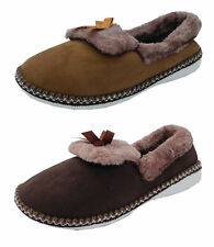 Womens Ladies Fluffy Fur Micro Suede Shoe Full Back Slippers Brown Tan Size 3-8