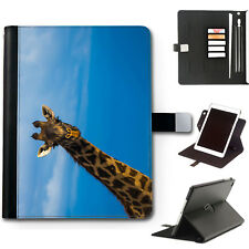 HAIRYWORM BLUE SKY GIRAFFE ANIMAL 360 SWIVEL LEATHER APPLE IPAD TABLET CASE