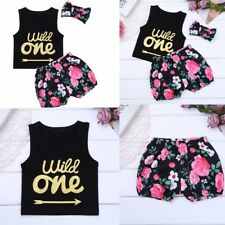 Newborn Baby Girl Outfit Clothes Romper Top + Pants + Headband 3pcs Outfits Set
