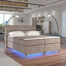 AMADEO Cama 160x200 180x200 con cajas para cama color crema LED Cama Cama Doble