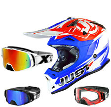 just1 J32 Pro RAVE CASCO CROSS CROSS MX Casco Rojo Azul two-x Cohete Gafas Cross