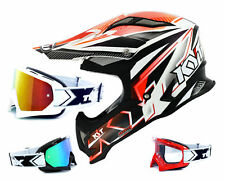 KYT CASCO CROSS Huelga Eagle STRIPE BLANCO ROJO two-x CARRERA MX Gafas enduro