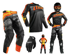 Thor Pulse velow Motocross Combo Con Pantalones Cross Jersey Guantes Negros