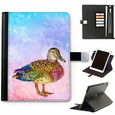 hairyworm Mallard Pato 360 Giratorio Cuero De Lujo Apple iPad Funda,Funda