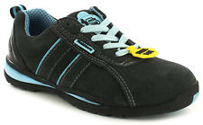 New Ladies/Womens Grey/Blue Tradesafe Barge Lace Ups Safety Shoes. UK Size