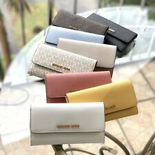 NWT MICHAEL KORS JET SET TRAVEL LEATHER LARGE TRIFOLD WALLET IN  VARIOUS COLORS