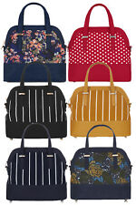 NEW Ruby Shoo Large Curved Lima Bag Blue Floral / Red Spot Jessica Molly